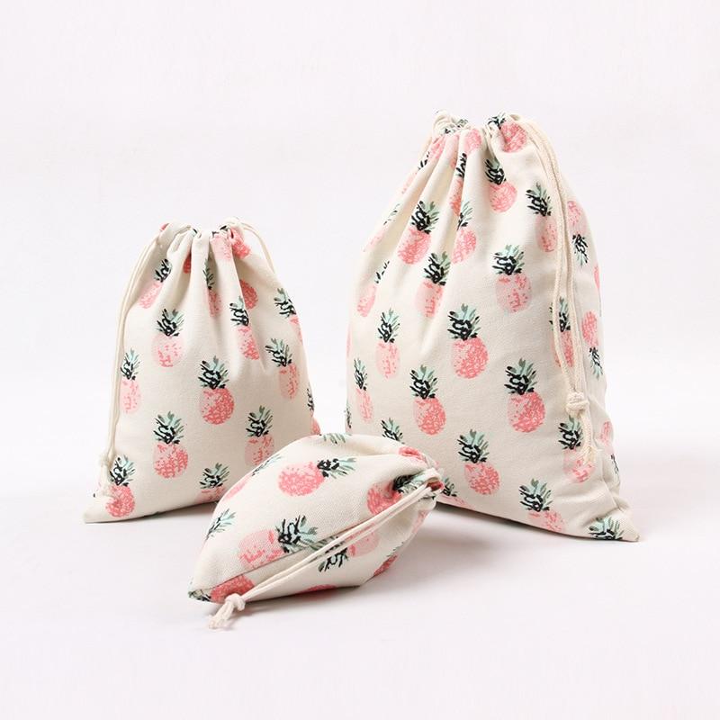 Literary Canvas Drawstring Bag Cute Cartoon Pink Pineapple Home Storage Travel Clothing Bag Festive Christmas Gift Packing Bags