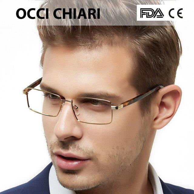 3f2810cae6a6 OCCICHIARI Men Glasses Frame Optical Man Eyeglasses 2018 Metal Acetate  Spectacles Oculos De Grau Spring Hinge Black Golden BONEO