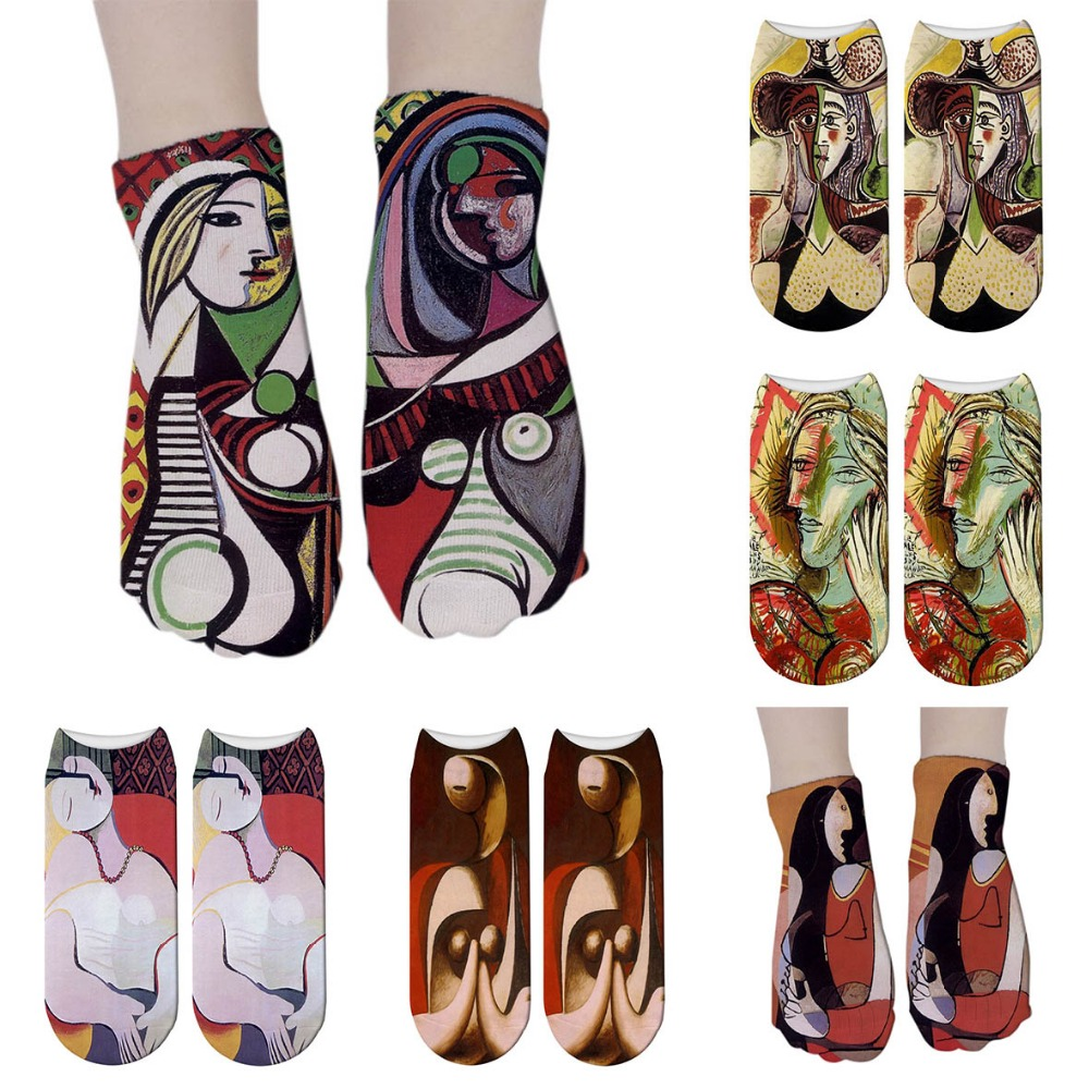 New 3D Abstract Oil Painting Art Socks Women Novelty Patterned Harajuku Design Retro Socks Funny Calcetines Mujer 6ZJQ-ZWS44