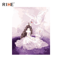 RIHE Dress Girl Diy Oil Painting By Numbers Swan Cuadros Decoracion Dreamy Acrylic Paint On Canvas For Artwork Modern Home Decor
