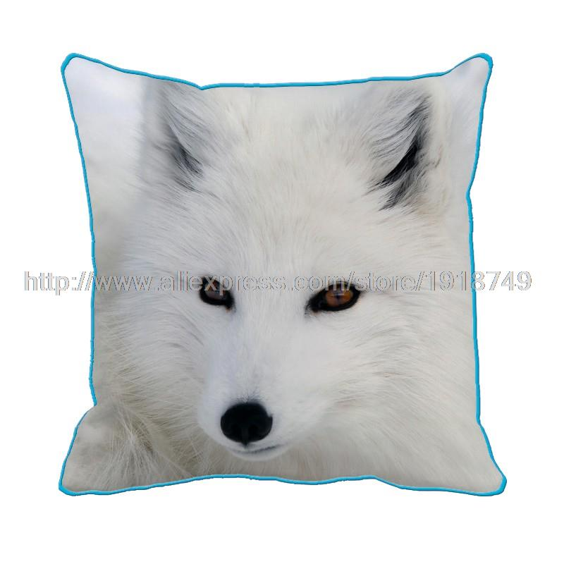 Sled Dog with white fur printed custom throw pillowcase with blue edge animal decorative cushion cover for home and sofa