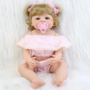 55cm Full Body Silicone Reborn Baby Doll Toys For Girls Bonecas Blonde Newborn Princess Bebe Alive Babies Present Gift Bathe Toy(China)