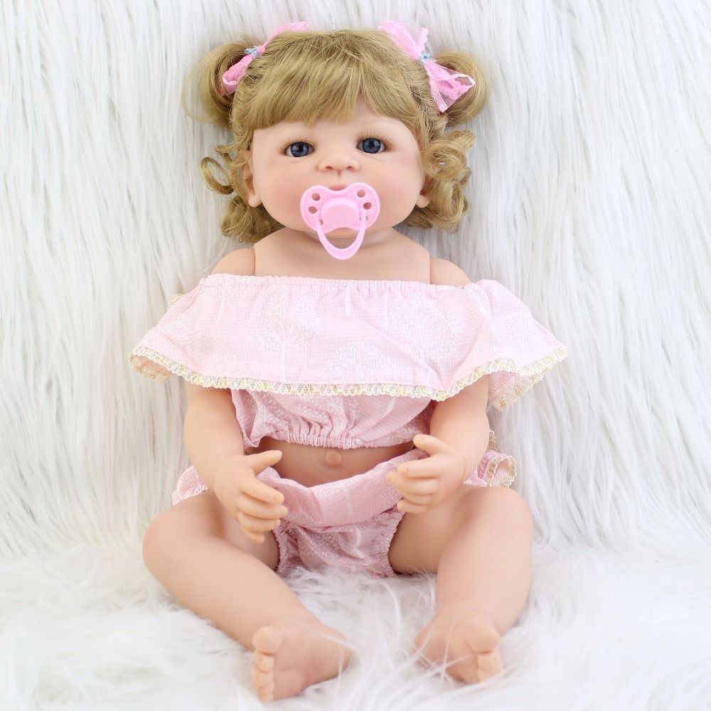 55cm Full Body Silicone Reborn Baby Doll Toys For Girls Bonecas Blonde Newborn Princess Bebe Alive Babies Present Gift Bathe Toy