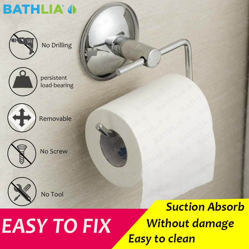Stainless Steel Bathroom Toilet Paper holder Roll Holder Tissue Bar Holder Wall Mounted by Air Vacuum Suction Cup kitbun6101bwk390 value kit toilet tissue 9quot diameter bun6101 and boardwalk disposable apron bwk390