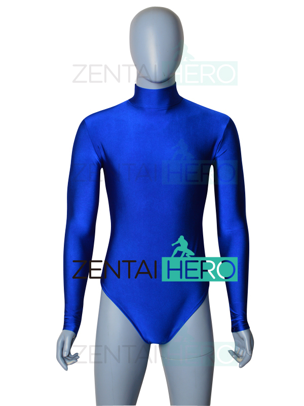 Free Shipping NEW Blue Color Long Sleeve Spandex Male Gymnastics Costume Leotard Tight Bodysuit Sexy Zentai Catsuit 18080903