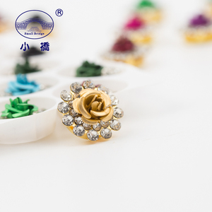 Image 2 - Golden Bottom Crystal Rhinestone With Claw Mix Color Flower Sew On Rhinestones Bridal Glass Stones for Clothes Decoration S136