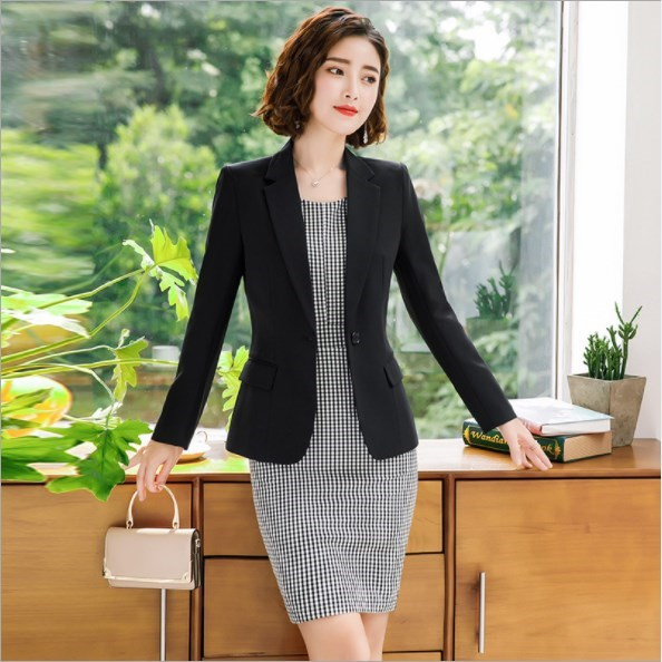 Woman Elegant Plaid Dress Suits for Women 2 Two Pieces Dress Set Ladies Office Wear Clothing Womens Blazers and Dresses