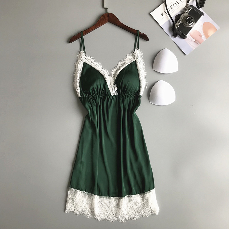 Lace Trim Lady Night Dress Sexy V-Neck Sleepwear   Sleepshirt   Rayon   Nightgown   Nightie Summer Casual Home Dress Intimate Lingerie