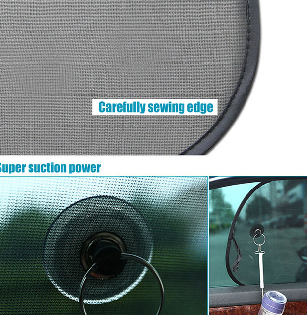 Super Quality 2pcs Black Side Car Sun Shades Rear Window Sunshades Cover Mesh Visor Shield Screen Interior UV protection kids
