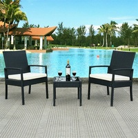 3 Pcs Outdoor Rattan Patio Furniture Set Garden Outdoor Patio Furniture High Quality Minimalist Modern Wicker Chair HW53509