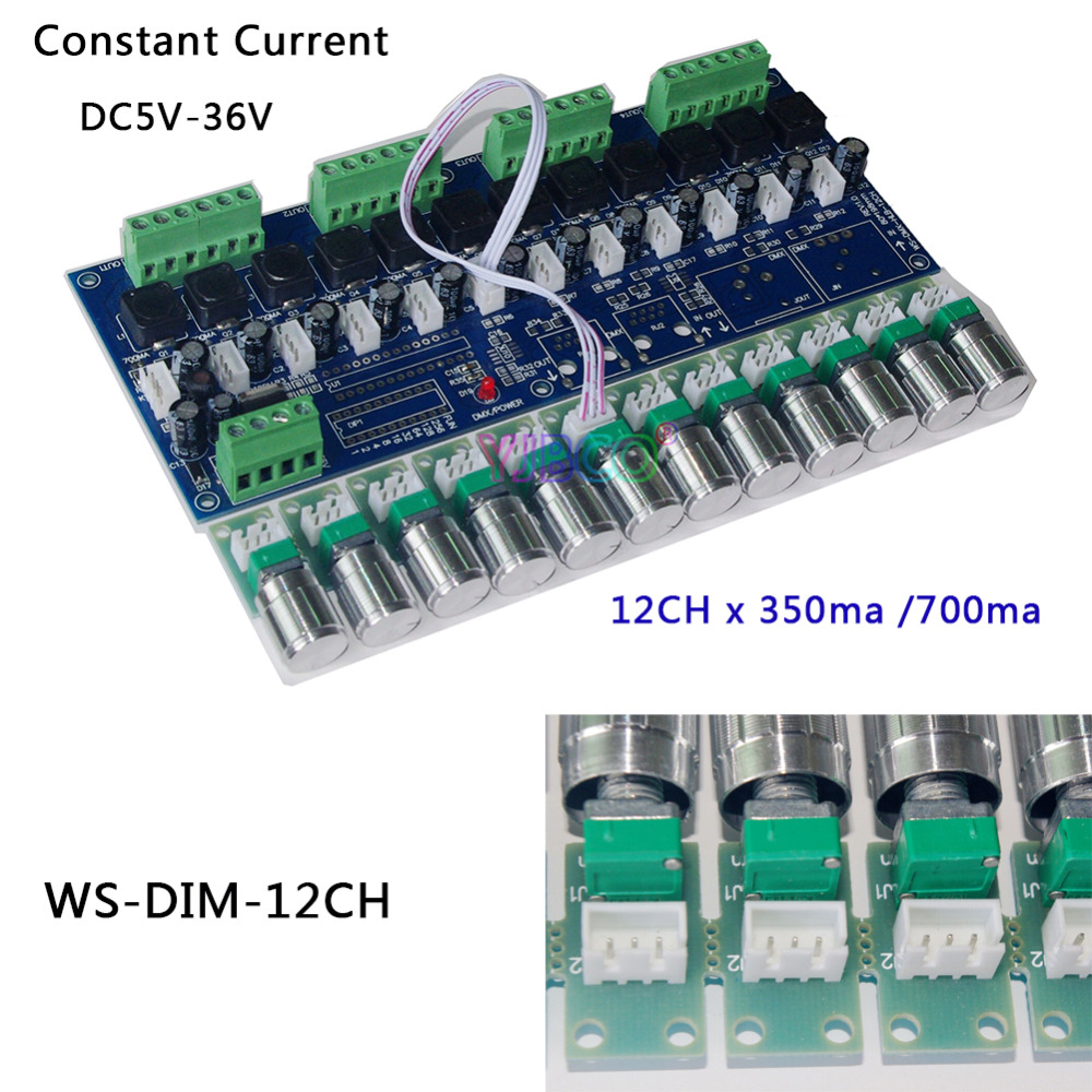 High-power DC5V-36V Constant current 350ma/700ma 12 channel led dimmer DMX512 decoder controller for led lamp led light 350ma constant current 12ch dmx dimmer 12 channel dmx 512 dimmer drive led dmx512 decoder rj45 xrl 3p