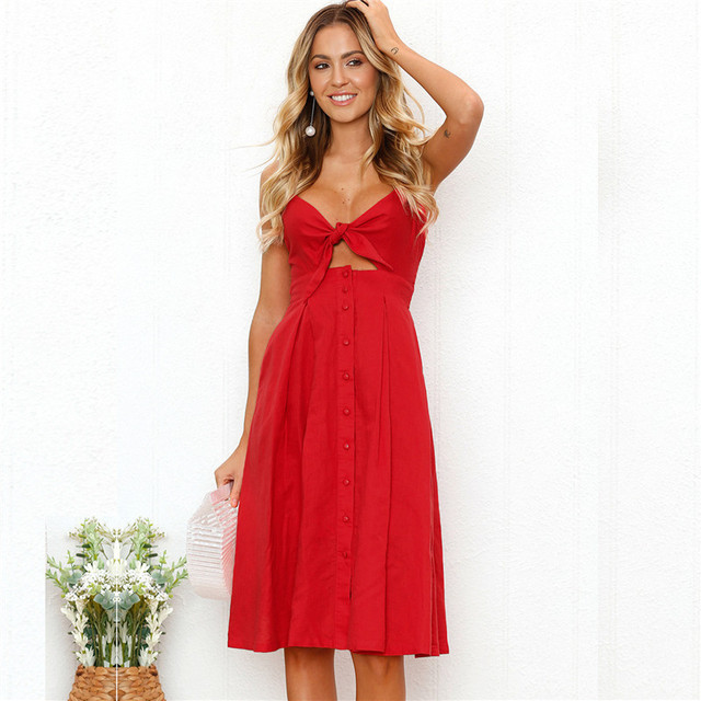 0f78c627a52 Women s Fashion Spaghetti Strap Dress Fit and Flare Solid Bow Dresses Knee-Length  Sleeveless V-neck Casual Empire Sexy Dresses