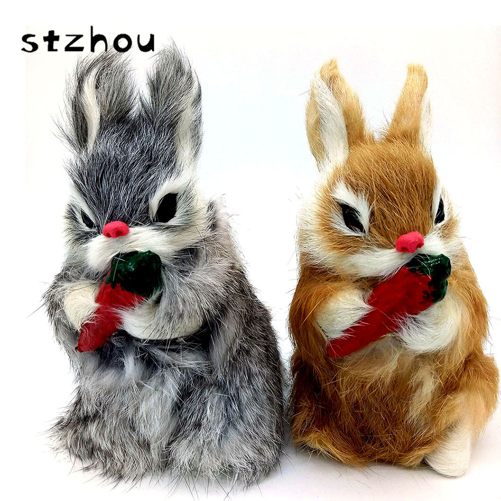 16cm Cute Animal Bunny Simulation Furry Squatting Rabbit Christmas Day Birthday Gift Home Wedding Decoration Craft Kids Toy kinston kst91872 ladybug petunia w rhinestones pattern pu case w stand for iphone 6 multicolored