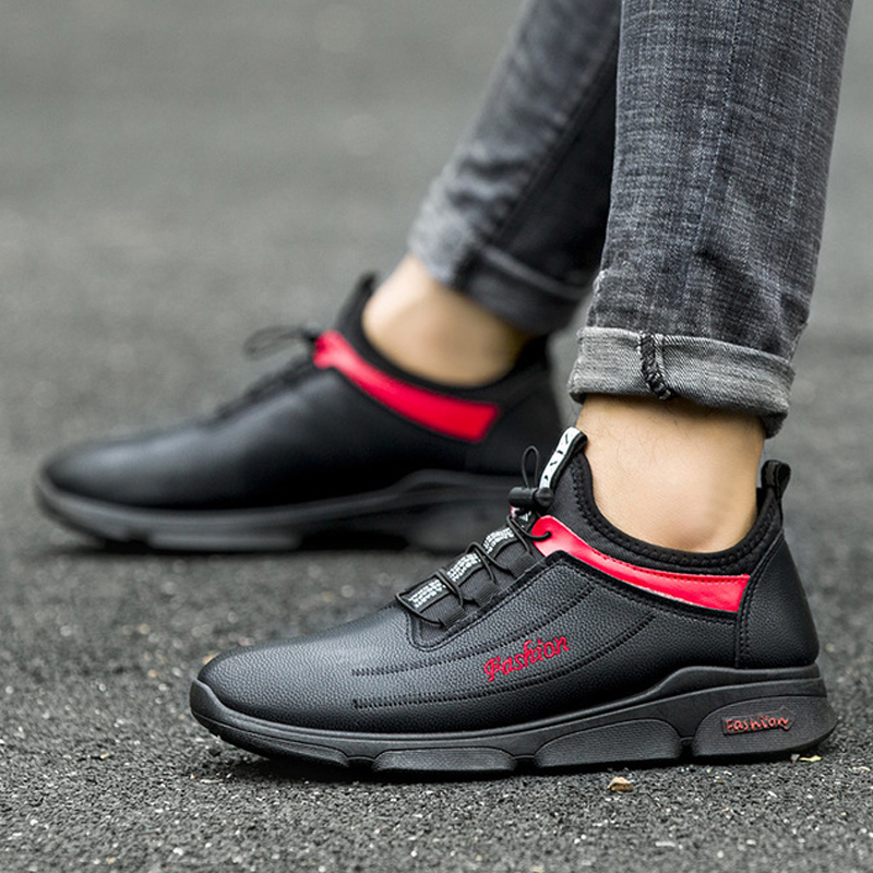 NIDENGBAO Winter Men's Running Shoes Waterproof Outdoor Sport Shoes For Male Plush Warm Sneakers Black Red Size 39-44