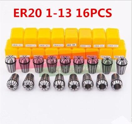 Gorący 16 sztuk/zestaw standardowe ER20 tuleja sprężynowa zestaw nakrętki mocujące CNC do frezowania maszyna do grawerowania narzędzia tokarskie