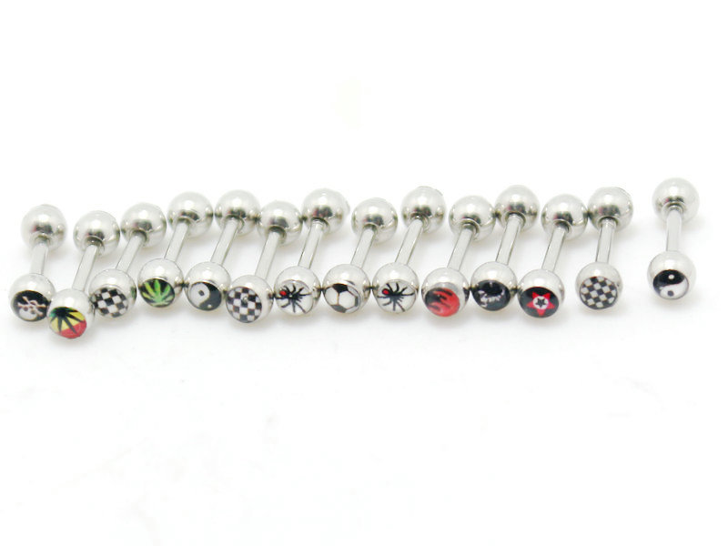 2pcs 1.2*6*3mm 16G Logo Picture Body Jewelry Stainless Steel Barbell Ear Piercing Tragus Cartilage Earrings Stud