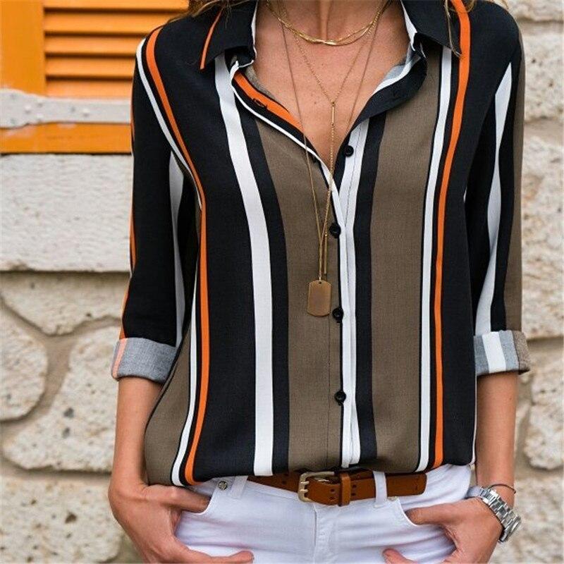 Blouse   Women 2019 Long Sleeve Striped   Shirt   Turn Down Collar Lady Office   Shirt   Summer Chiffon   Blouse   Tops Blusas Mujer Plus Size