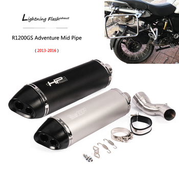 For 2013-2016 BMW R1200GS Adventure Exhaust Pipe Slip On Motorcycle Mid Middle Pipe 51 mm Dual-outlet Tail Escape No DB Killer