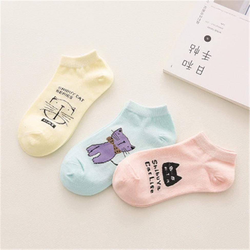 Women Socks Casual Work Business Cotton Cartoon Cat hat sale newest Fashion Sock Comfortable Striped pantuflas chinelos de meias