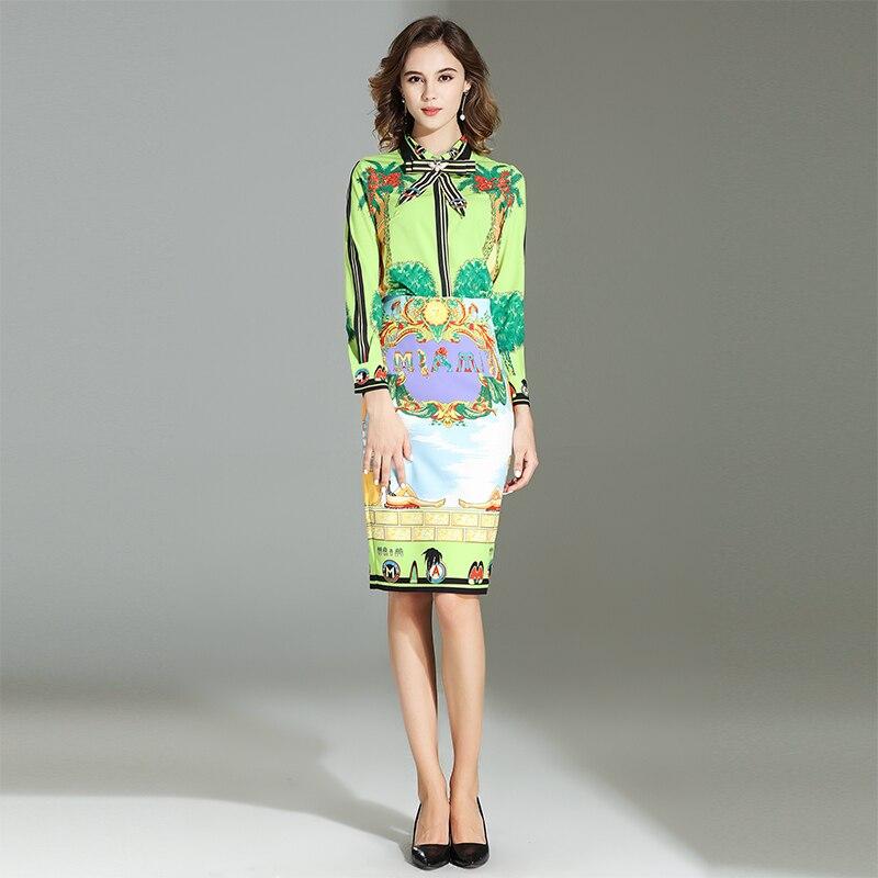 Genou Imprimer Summer Mode Qualité Ensembles Turn Plein Jupes Au Col Manches De Mince 2018 down Longueur Femme Costumes New Haute Arc Chemises UEq5wwg4
