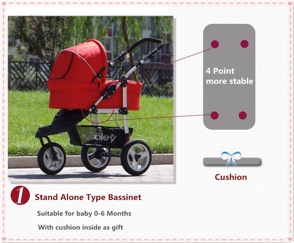 Luxus kinderwagen 3 in 1 fügen autositz und stubenwagen rot lila