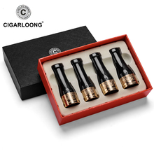 CIGARLOONG Gadgets Gold Red Pure Copper Resin Cigar Pipe Case Holder Nozzle 4 Sizes Smoke Tip CP-0003