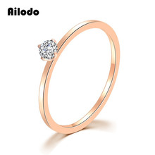 Ailodo Romantic Crystal Engagement Wedding Rings For Women Rose Gold Color Titanium Steel Rings Femme Bijoux Jewelry Gift LD021 цена и фото