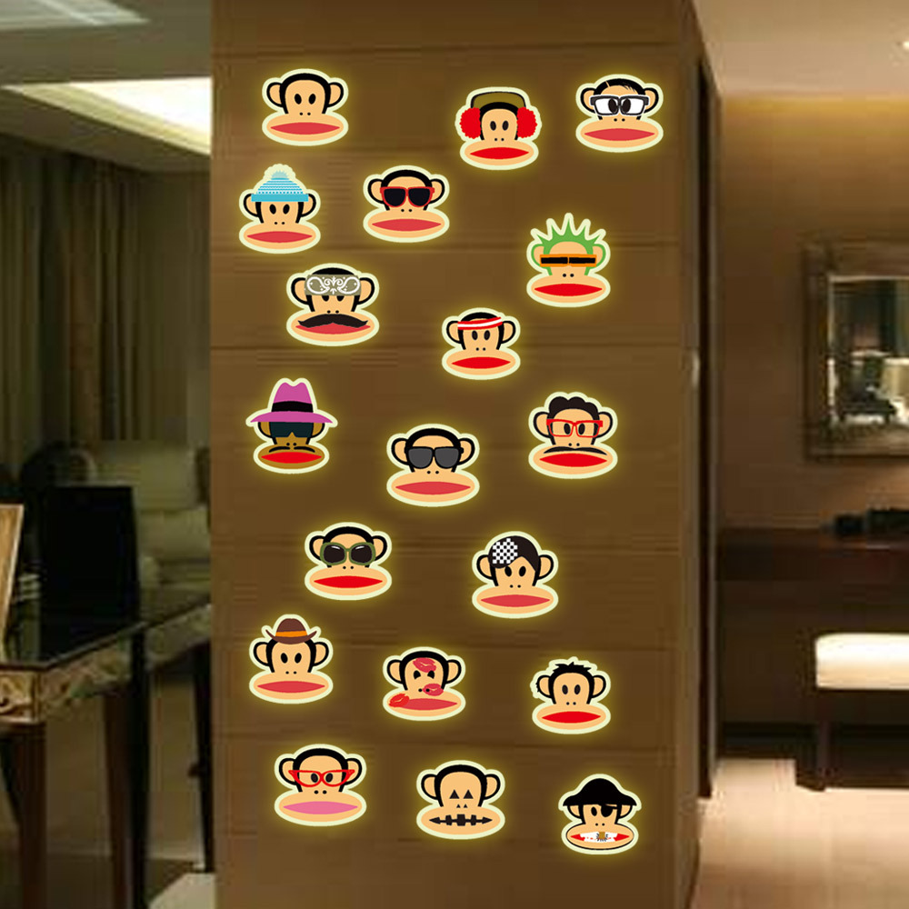 Wall stickers glowing - Aliexpress Com Buy Night Luminous 3d Wall Stickers Creative Glowing Colorful Cartoon Monkey Vinyl Decals For Kids Room Wall Decoration From Reliable Decal