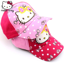 цена на Hello Kitty Cartoon Children Caps Sport Hello Kitty Design With Letter Embroidery Adjustable Baseball Hat Kids Baby Outdoor KT