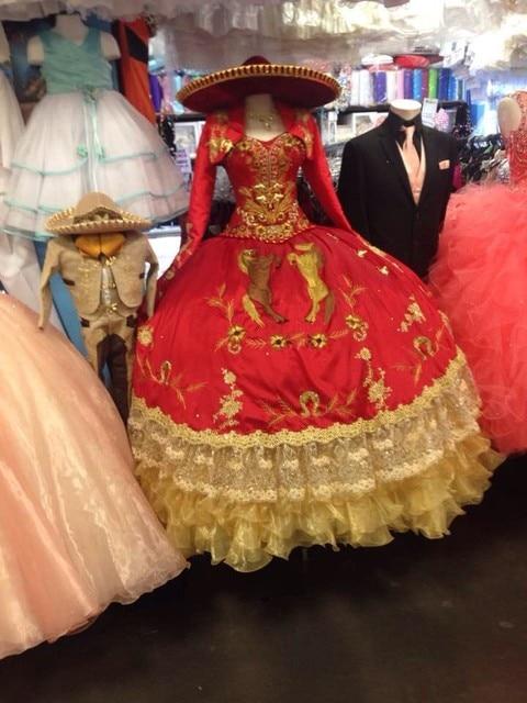 Elegante e vermelho Quinceanera vestidos querida com jaqueta de vestidos bonito ouro bordado doce 16 vestidos