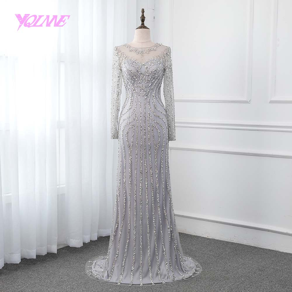YQLNNE Vestido De Festa 2019 Full Sleeve Mermaid   Evening     Dress   Crystals Beading Formal Gown Back See Through Pageant   Dresses