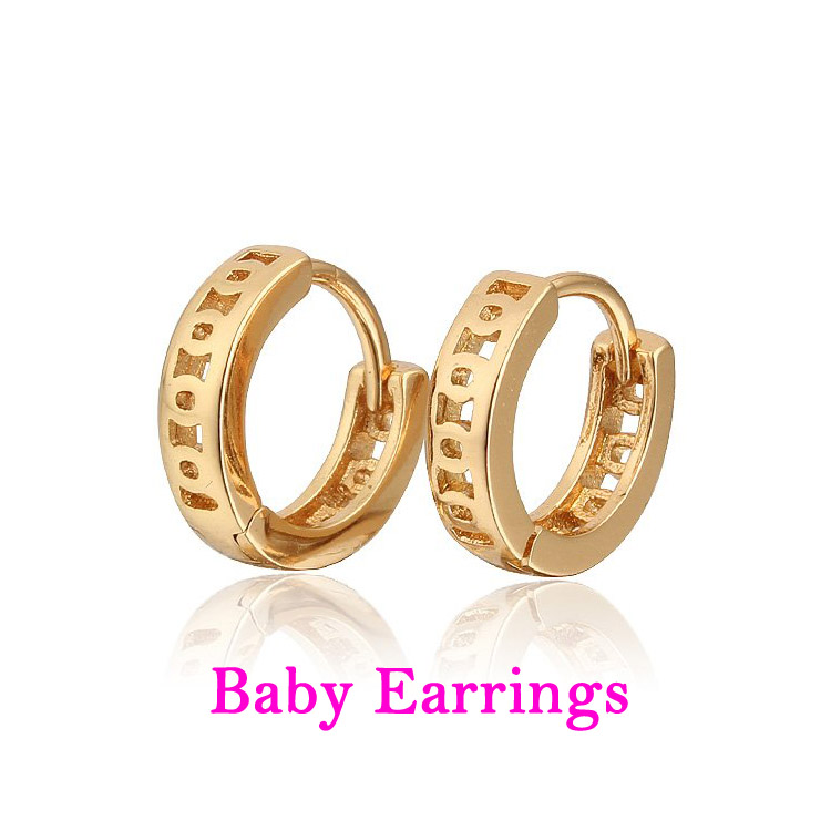 Two Pairs Baby Earring CC Hoop Gold Earrings Kids Jewelry Boucle D ...