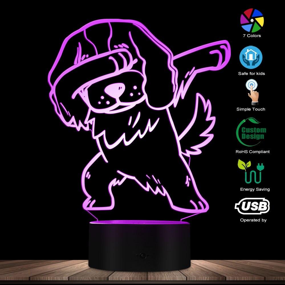 Dabbing Cavalier King Charles Spaniel Lighting 3D Optical Illusion Light USB Night Dog Glowing LED Light Home Decor Table Lamp