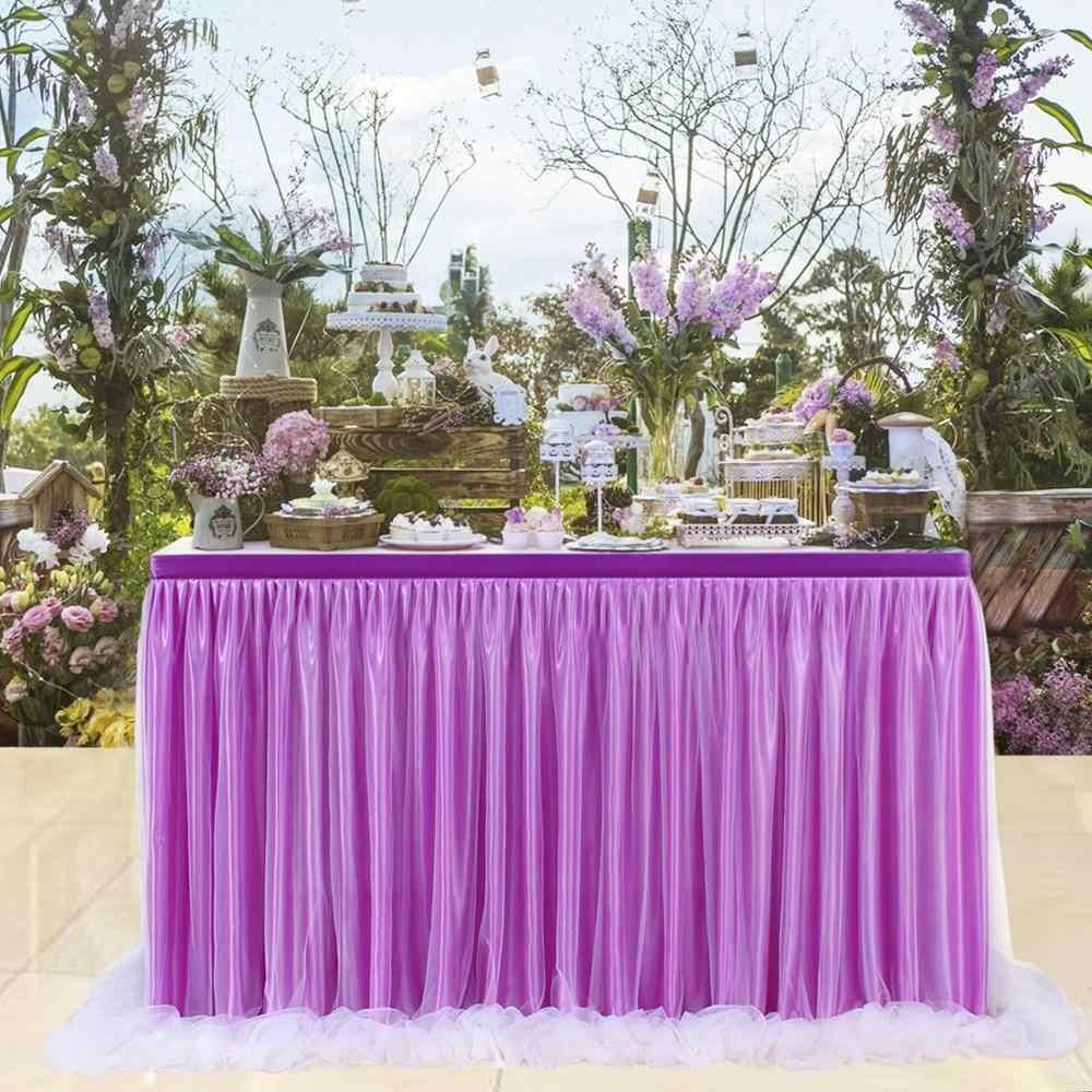 cd4ba82a8 14FT tul Tutu falda de mesa blanco rosa azul de tela para la fiesta de  cumpleaños de banquete de boda ducha de bebé decoración de la Mesa de ...