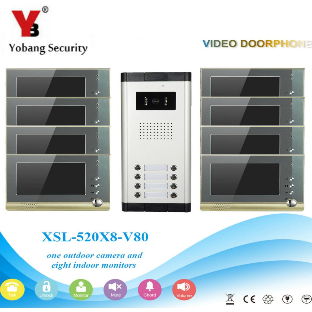 YobangSecurity Villa Apartment Eye Door bell 7TFT LCD Color Video Door Phone Doorbell Intercom System 1 Camera 8 Monitor freeship 10 door intercom security system hands free monitor color tft lcd screen intercom system video door phone for villa