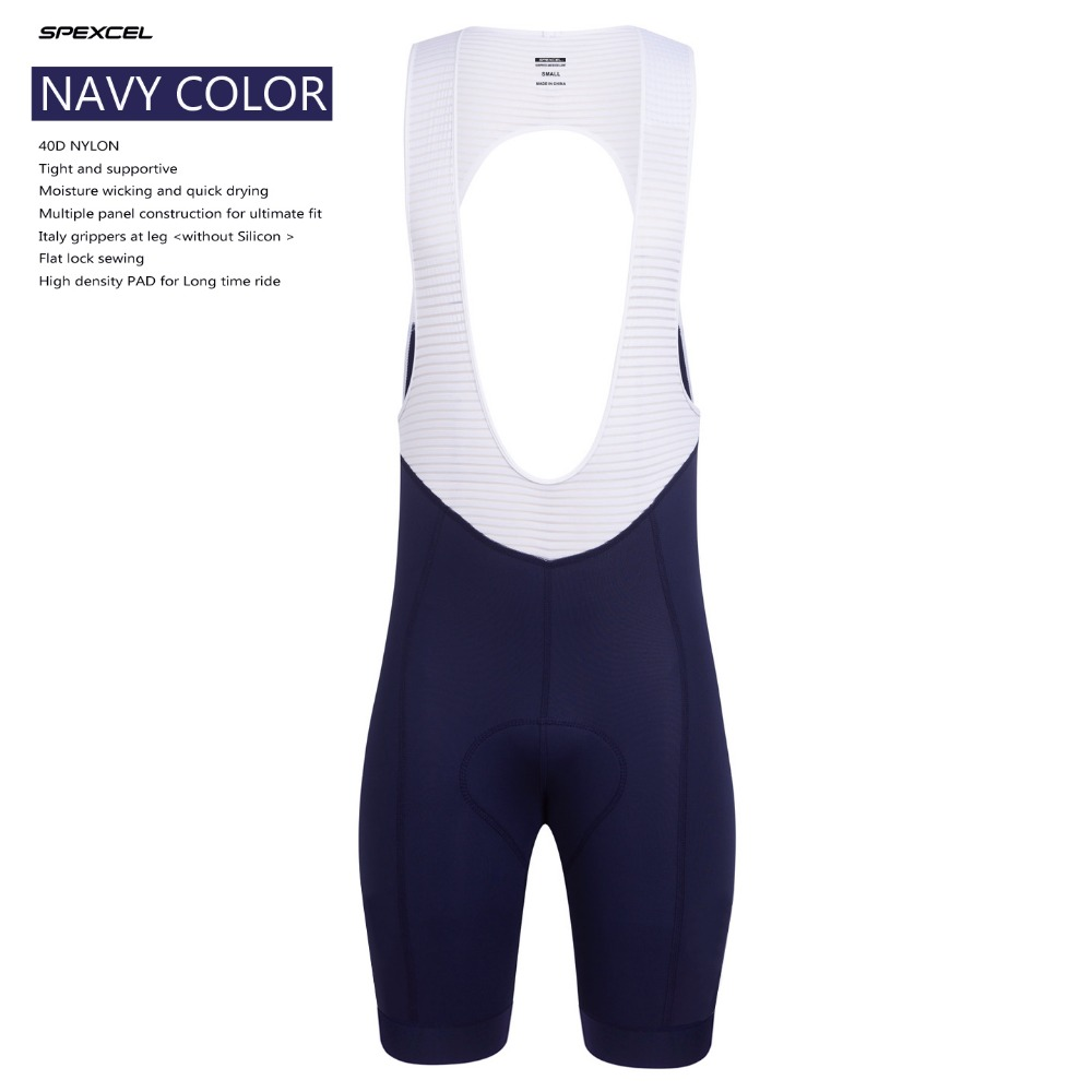 SPEXCEL NAVY RACE CYCLING BIB SHORTS imports fabric with Italy grippers leg high density PAD bicycle bibs cycling clothing
