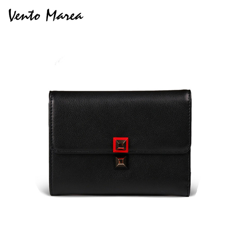LadiesWallet Card Holder Womans Wallets Lether Vallet Brand Black & Green Women Purse Genuine Leather Porte Carte ...