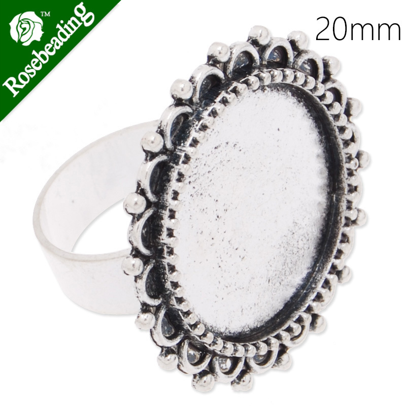 Circle Adjustable Ring with 20MM Round Ornate Bezel ,Antique Silver,zinc alloy filled,20pcs/lot-C4198