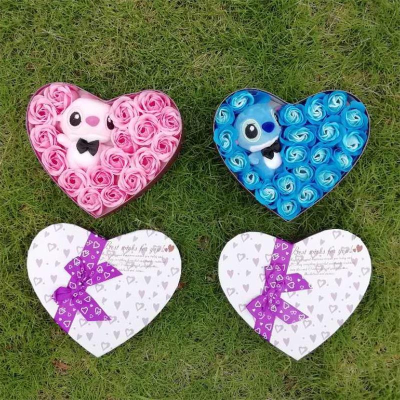 Hand made niedrigen preis hohe quanlity rosa und blau stich plüsch spielzeug mit seife blumen kreative valentinstag und geburtstag für mädchen