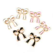 Lovely Sweet 10pcs/lot Pink/White/Black Enamel Alloy Bow Charm Pendant for Women Girls DIY Jewelry Findings Making Size 17x20mm(China)