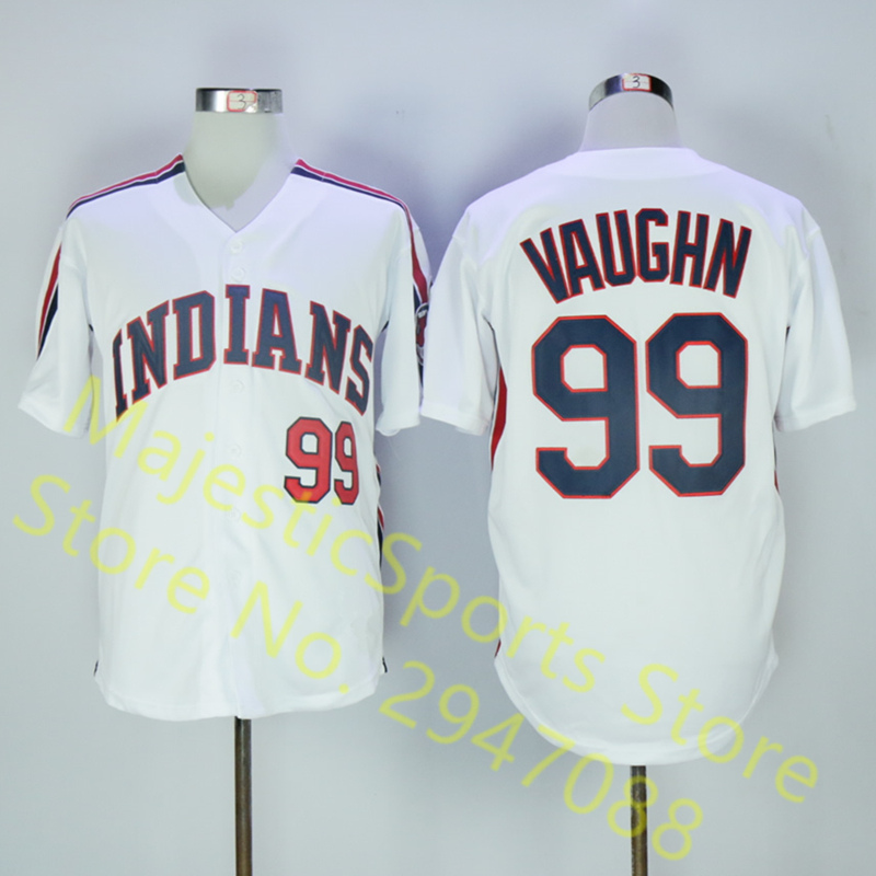 Men's INDIANS #99 Rick Vaughn Jersey High Quality Throwback White Shirt Jersey цены