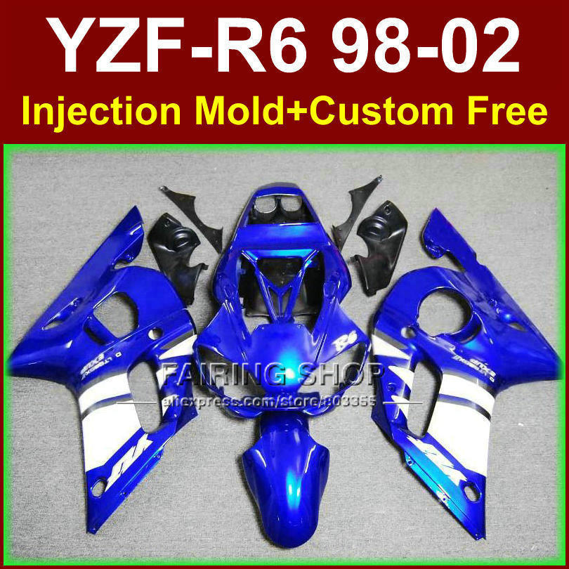 PC8E New dark blue fairing set for YAMAHA R6 98 99 00 01 02 YZF R6 fairing kit 1998 1999 2000 2001 2002 fairings parts OF7F 1999 2002 land rover discovery ii 2 chrome trim for grill grille 2000 2001 99 00 01 02