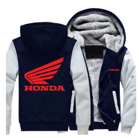 Winter Coat Red Printed Honda Motorcycle Jacket Zipper Hoodies Cashmere Sweatshirts Mens Thick Warm Cotton Jacket US EU SIZE