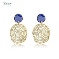 Romantic RHao Drop Earrings for women wedding and party pendientes gold hollow Enamel Rose Flower Dangling Pendant earrings