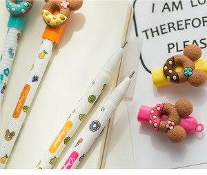 Image 4 - 30 stks/partij Zoete beer cookie pennen voor handtekening schrijven 0.5mm Uitwisbare gel inkt pennen Kids gift Kantoor schoolbenodigdheden FB440