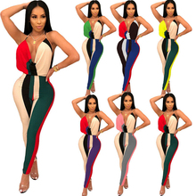 Retro Color Blocking Striped Jumpsuits