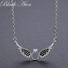 BLACK AWN Ny Ankomst Classic 925 Sterling Sølv Fine Smykker Trendy Wing Engagement Necklaces & Pendants for Women P195