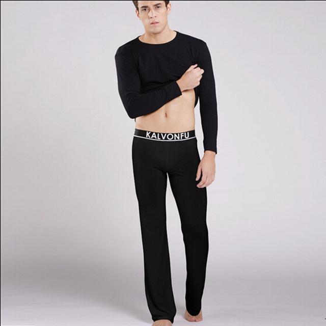 Modal dos homens Conjuntos de pijama de seda respirável Homem algodão Calças compridas & Tops Alta qualidade sleepwear casuais