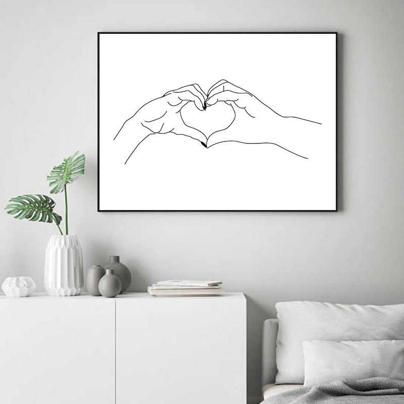 Line Drawing Kiss Handholding Canvas Poster Abstract Wall Art Painting Print Minimalist Nordic Decoration Picture Home Decor