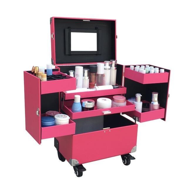 Pink Cosmetic Train Box Makeup Artist Case Locking Rolling Organizer